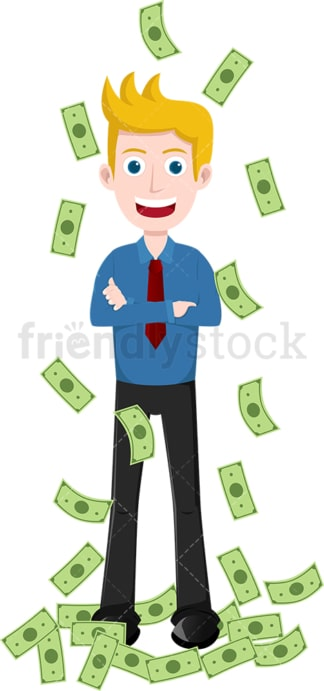 Man standing still as money rain down around him. PNG - JPG and vector EPS file formats (infinitely scalable). Image isolated on transparent background.