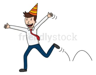 Overjoyed businessman wearing party hat. PNG - JPG and vector EPS file formats (infinitely scalable). Image isolated on transparent background.