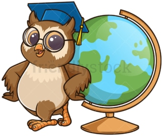 Owl geography teacher with globe. PNG - JPG and vector EPS (infinitely scalable).