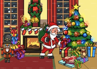 Santa claus in a house during christmas. PNG - JPG and vector EPS file formats (infinitely scalable). Image isolated on transparent background.