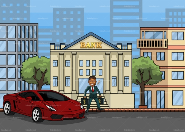 Wealthy black man making a bank deposit. PNG - JPG and vector EPS file formats (infinitely scalable). Image isolated on transparent background.