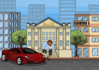Wealthy black woman deposit money to the bank. PNG - JPG and vector EPS file formats (infinitely scalable). Image isolated on transparent background.