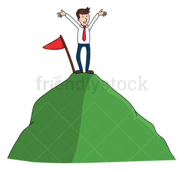Winning business man on top of a hill. PNG - JPG and vector EPS (infinitely scalable).