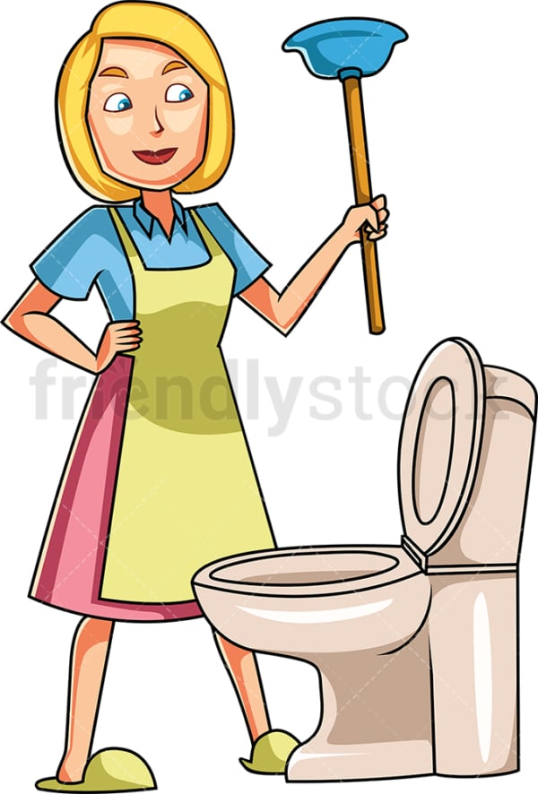 Woman holding toilet plunger. PNG - JPG and vector EPS file formats (infinitely scalable). Image isolated on transparent background.