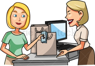 Woman paying for her purchases with cash. PNG - JPG and vector EPS file formats (infinitely scalable). Image isolated on transparent background.
