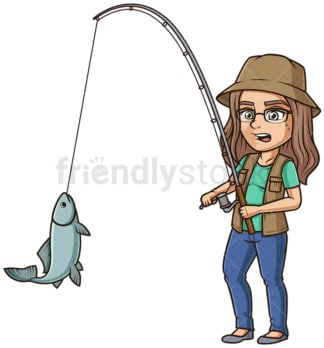 Woman reeling in fish. PNG - JPG and vector EPS (infinitely scalable).