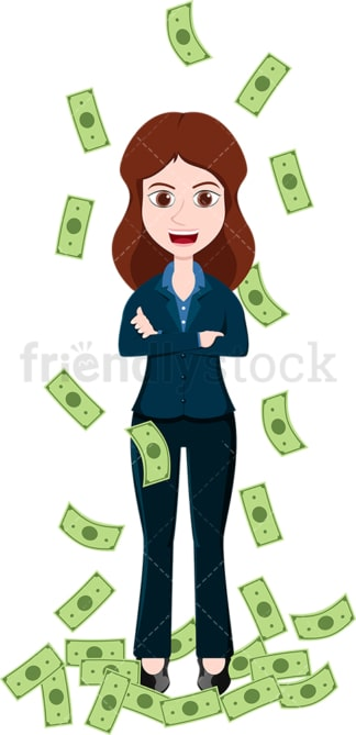 Woman standing in the midst of money rain. PNG - JPG and vector EPS file formats (infinitely scalable). Image isolated on transparent background.