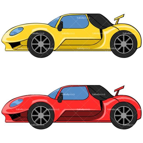 Yellow and red sports car. PNG - JPG and vector EPS file formats (infinitely scalable). Image isolated on transparent background.