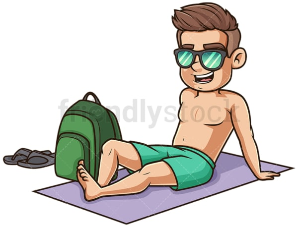 Young man on summer towel. PNG - JPG and vector EPS (infinitely scalable).