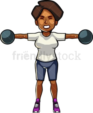 A blAck womAn exercising with dumbbells. PNG - JPG and vector EPS file formats (infinitely scalable). Image isolated on transparent background.