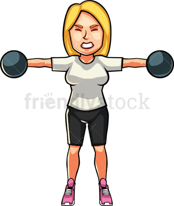 A blonde womAn exercising with dumbbells. PNG - JPG and vector EPS file formats (infinitely scalable). Image isolated on transparent background.