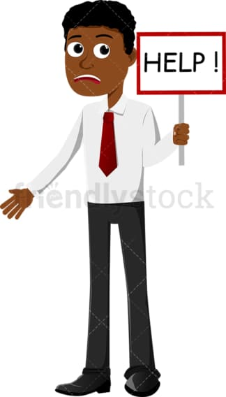 Black businessman calling for help. PNG - JPG and vector EPS file formats (infinitely scalable). Image isolated on transparent background.
