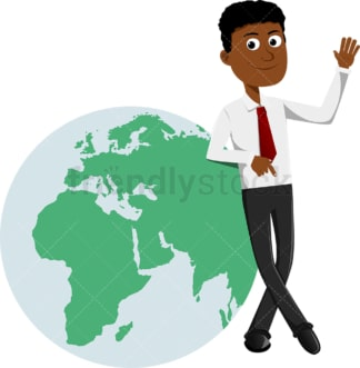Black businessman leaning against an earth globe. PNG - JPG and vector EPS file formats (infinitely scalable). Image isolated on transparent background.