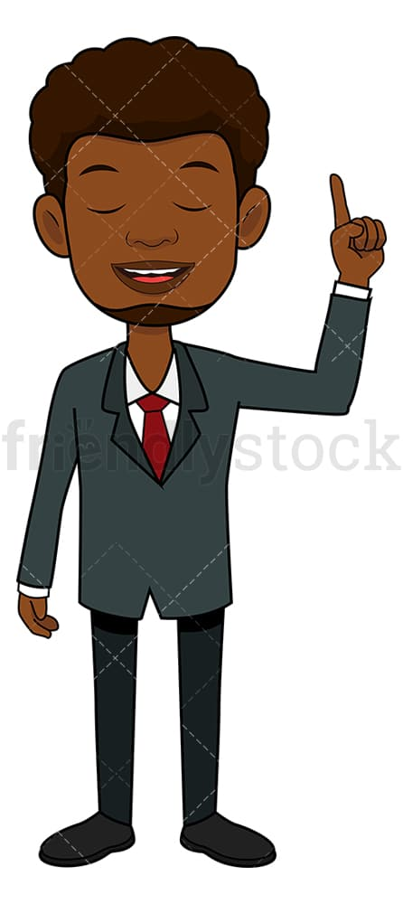Black businessman making a good point. PNG - JPG and vector EPS file formats (infinitely scalable). Image isolated on transparent background.
