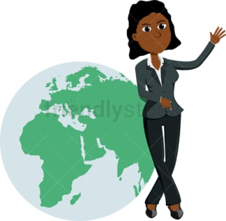 Black businesswoman leaning against gigantic globe. PNG - JPG and vector EPS file formats (infinitely scalable). Image isolated on transparent background.