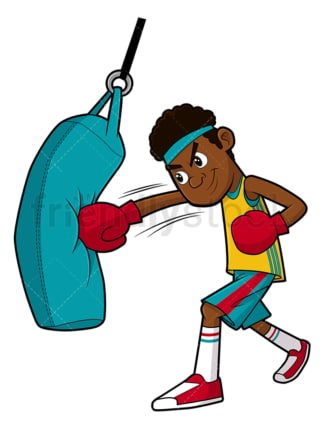 Black man doing punching bag workout. PNG - JPG and vector EPS file formats (infinitely scalable). Image isolated on transparent background.