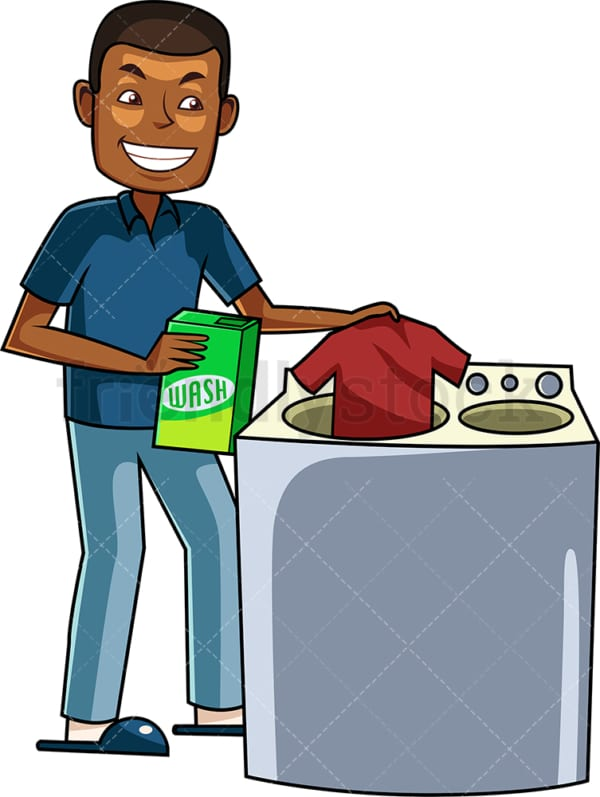 Black man doing the laundry. PNG - JPG and vector EPS file formats (infinitely scalable). Image isolated on transparent background.