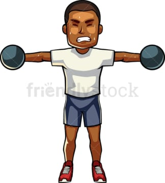 Black man exercising with dumbbells. PNG - JPG and vector EPS file formats (infinitely scalable). Image isolated on transparent background.