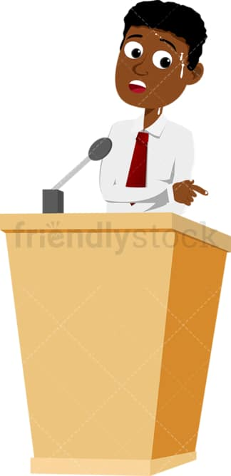 Black man on podium feeling stressed. PNG - JPG and vector EPS file formats (infinitely scalable). Image isolated on transparent background.