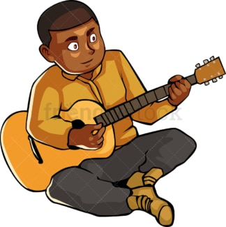 Black man on the ground playing the guitar. PNG - JPG and vector EPS file formats (infinitely scalable). Image isolated on transparent background.
