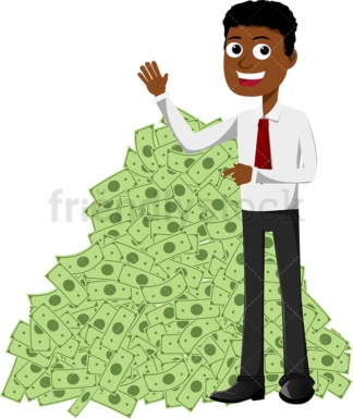 Black man smiling and pointing to huge pile of cash. PNG - JPG and vector EPS file formats (infinitely scalable). Image isolated on transparent background.