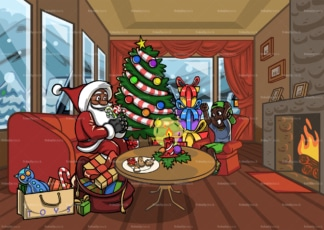 Black santa bringing gifts to little boy at christmas. PNG - JPG and vector EPS file formats (infinitely scalable). Image isolated on transparent background.
