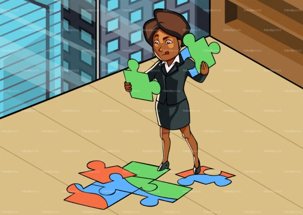 Black woman at office solving jigsaw puzzle. PNG - JPG and vector EPS file formats (infinitely scalable). Image isolated on transparent background.