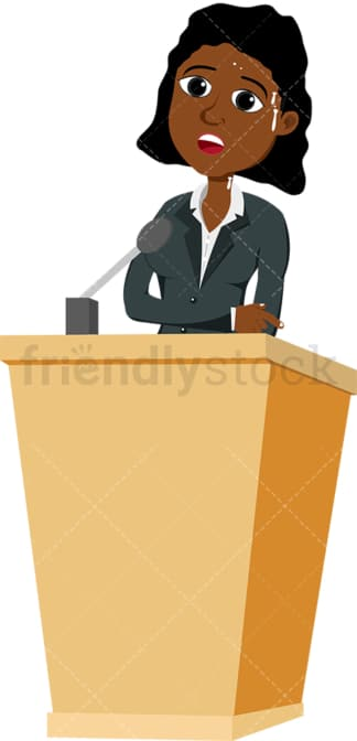 Black woman in distress behind podium. PNG - JPG and vector EPS file formats (infinitely scalable). Image isolated on transparent background.