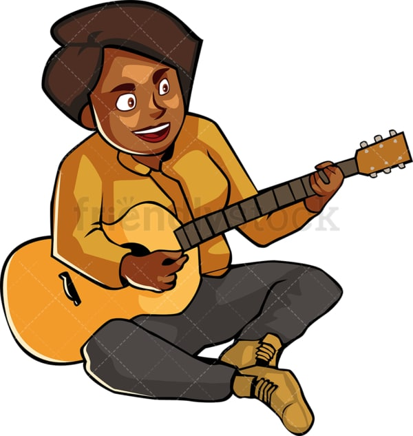 Black woman on the ground playing the guitar. PNG - JPG and vector EPS file formats (infinitely scalable). Image isolated on transparent background.