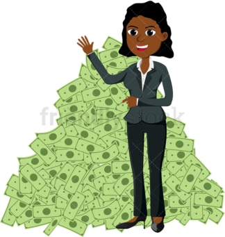 Black woman pointing to massive pile of dollar bills. PNG - JPG and vector EPS file formats (infinitely scalable). Image isolated on transparent background.