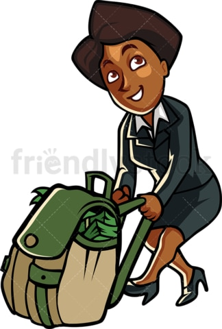 Black woman pulling bag full of money. PNG - JPG and vector EPS file formats (infinitely scalable). Image isolated on transparent background.