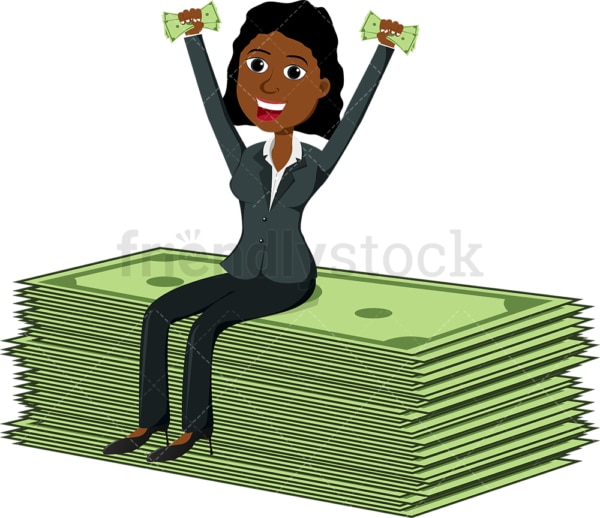 Black woman seated atop gigantic money bills. PNG - JPG and vector EPS file formats (infinitely scalable). Image isolated on transparent background.