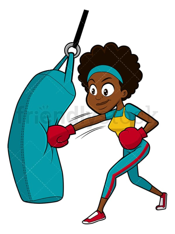 Black woman training with punching bag. PNG - JPG and vector EPS file formats (infinitely scalable). Image isolated on transparent background.