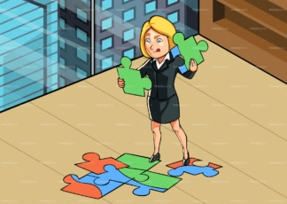 Business woman at office trying to solve puzzle. PNG - JPG and vector EPS file formats (infinitely scalable). Image isolated on transparent background.
