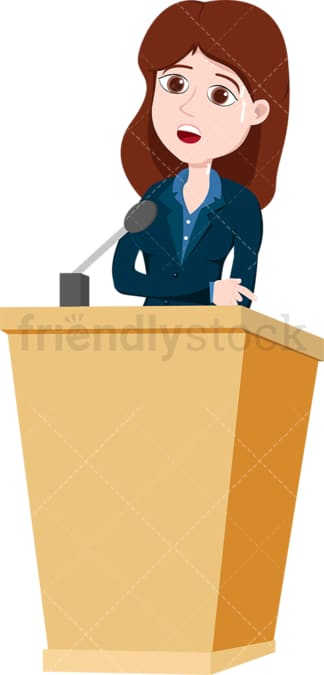 Stressed woman behind podium. PNG - JPG and vector EPS file formats (infinitely scalable). Image isolated on transparent background.