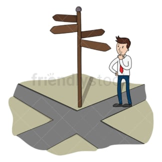Businessman at crossroads decision making. PNG - JPG and vector EPS (infinitely scalable).
