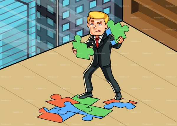 Businessman at the office connecting jigsaw puzzle. PNG - JPG and vector EPS file formats (infinitely scalable). Image isolated on transparent background.