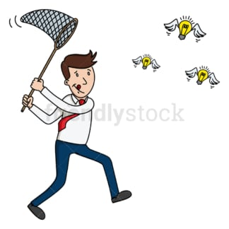 Businessman fishing for ideas. PNG - JPG and vector EPS (infinitely scalable).
