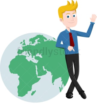 Businessman casually leaning against globe. PNG - JPG and vector EPS file formats (infinitely scalable). Image isolated on transparent background.