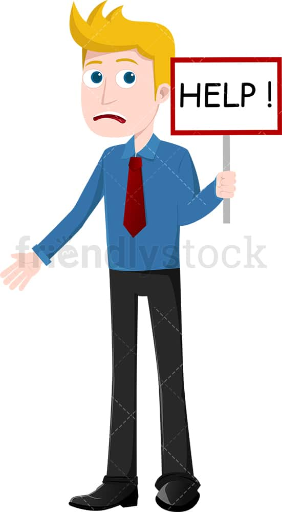 Businessman holding help sign. PNG - JPG and vector EPS file formats (infinitely scalable). Image isolated on transparent background.