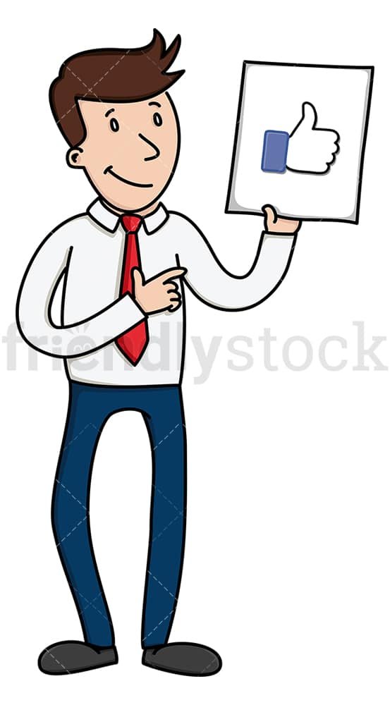 Businessman holding like sign. PNG - JPG and vector EPS file formats (infinitely scalable). Image isolated on transparent background.