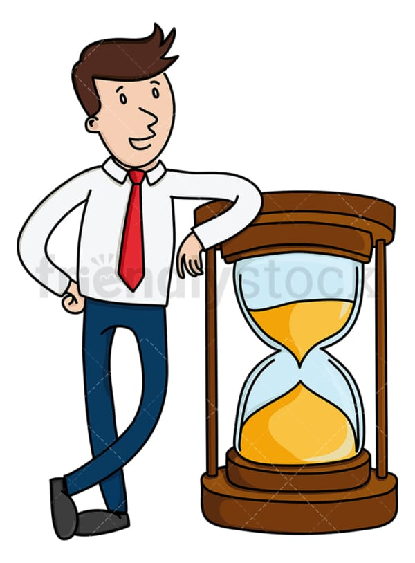 Businessman leaning on large hourglass. PNG - JPG and vector EPS (infinitely scalable).