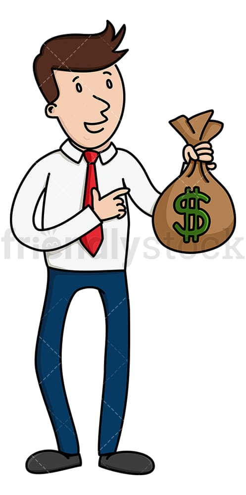 Businessman pointing to bulging cash bag. PNG - JPG and vector EPS (infinitely scalable).