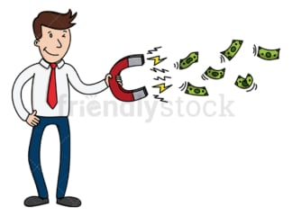 Businessman with magnet attracting money. PNG - JPG and vector EPS (infinitely scalable).