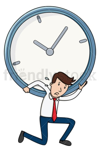 Businessman with time management issues. PNG - JPG and vector EPS file formats (infinitely scalable). Image isolated on transparent background.