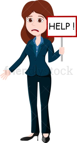 Businesswoman holding a help sign. PNG - JPG and vector EPS file formats (infinitely scalable). Image isolated on transparent background.