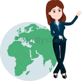 Businesswoman leaning against giant earth globe. PNG - JPG and vector EPS file formats (infinitely scalable). Image isolated on transparent background.