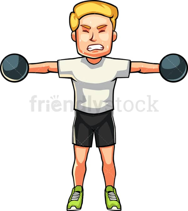 Caucasian man raising dumbbells. PNG - JPG and vector EPS file formats (infinitely scalable). Image isolated on transparent background.