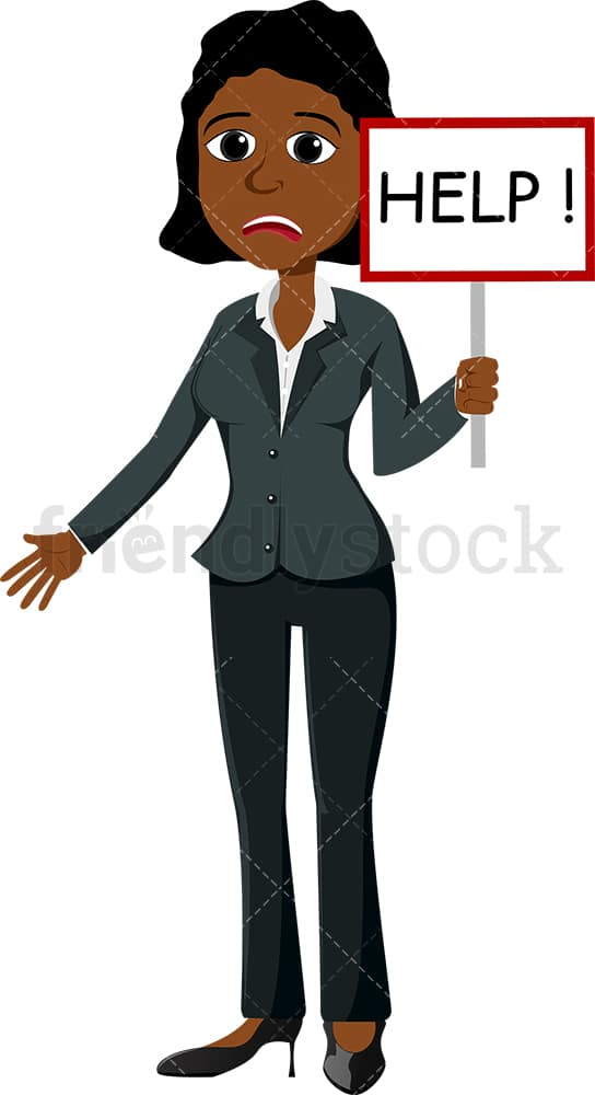 Desperate black businesswoman holding help sign. PNG - JPG and vector EPS file formats (infinitely scalable). Image isolated on transparent background.