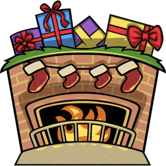 Fireplace with christmas stockings. PNG - JPG and vector EPS file formats (infinitely scalable). Image isolated on transparent background.